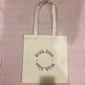 With jean tote bag